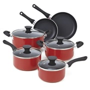Cook N Home Non Stick 10 Piece Cookware Set; Red