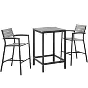 Modway Maine 3 Piece Bar Height Dining Set; Brown / Grey
