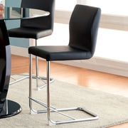 Hokku Designs Benedict 24.25'' Bar Stool with Cushion (Set of 2); Black