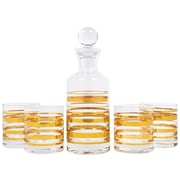 Home Essentials and Beyond 5 Piece Posh Gold Bangle Decanter and Glass Set