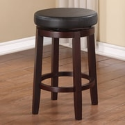 Linon Maya 24'' Swivel Bar Stool with Cushion; Black