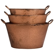 Home Essentials and Beyond 3 Piece Oval Dotted Bucket Set; Copper