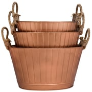 Home Essentials and Beyond 3 Piece Oval Ribbed Bucket Set; Copper