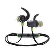 iHome iB73GQC In-Ear Water Resistant Bluetooth Headphones with Microphone, Gunmetal/Green