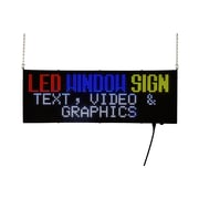 "Outdoor Signs of America Window LED Sign Customizable Message, 13.25"" x 38.25"", Polycarbonate, Black, Each (WLED-10-32X96-C)"
