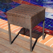 Home Loft Concepts Anchorage Wicker Outdoor Accent Table; Brown