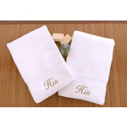 Linum Home Textiles Luxury Hotel and Spa Personalized His and His Hand Towel (Set of 2); Gold
