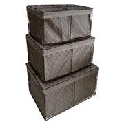 Cheungs 3 Piece Rectangular Lined Wire Storage Basket Set