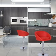 AdecoTrading Adjustable Height Swivel Bar Stool with Cushion (Set of 2); Red