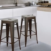 AdecoTrading 30'' Bar Stool (Set of 2); Bronze