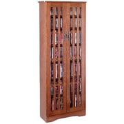Leslie Dame Glass Door Tall Multimedia Storage Cabinet; Walnut