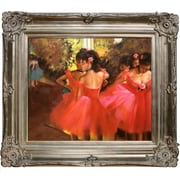 Tori Home Dancers in Pink Hand by Degas Framed Painted Oil on Canvas