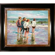 Tori Home Summer Day and Brighton Beach by Potthast Framed Hand Painted Oil on Canvas