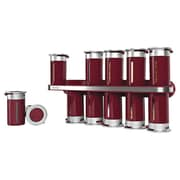 Zevro Zero Gravity Wall Mount Magnetic 12 Piece Spice Set; Red / Silver