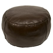Casablanca Market Moroccan Leather Pouf Ottoman III; Chocolate Brown