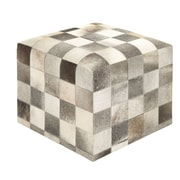 Woodland Imports Timeless and Beautiful Leather Ottoman; Faded Black / White