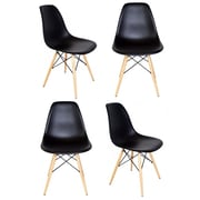 eModern Decor Slope Shell Side Chair (Set of 4); Black