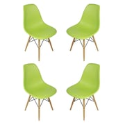 eModern Decor Slope Shell Side Chair (Set of 4); Green
