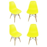 eModern Decor Slope Shell Side Chair (Set of 4); Light Yellow
