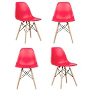 eModern Decor Slope Shell Side Chair (Set of 4); Red