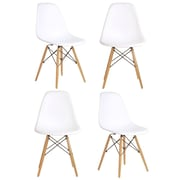 eModern Decor Slope Shell Side Chair (Set of 4); White