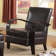 Roundhill Furniture Wonda Bonded Leather Arm Chair; Brown