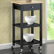 Roundhill Furniture Kitchen Cart; Black