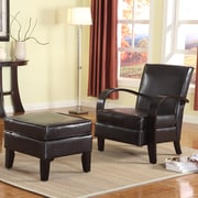 Roundhill Furniture Wonda Bonded Leather Arm Chair with Ottoman; Brown