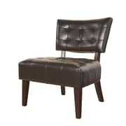 Roundhill Furniture Anjotiya Faux Leather Tufted Chair; Brown