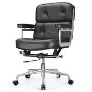 Meelano Mid-Back Leather Office Chair; Black