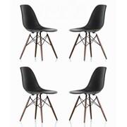 eModern Decor Shell Matte Side Chair (Set of 4); Black