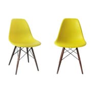 eModern Decor Shell Side Chair (Set of 2); Yellow