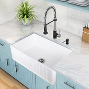 Vigo 30 inch Farmhouse Apron Single Bowl Matte Stone Kitchen Sink