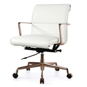 Meelano Mid-Back Leather Office Chair; White