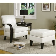Roundhill Furniture Wonda Bonded Leather Arm Chair with Ottoman; White