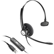 Plantronics ® 202238-11 Entera HW111N-USB-M Wired Over-the-Head Mono Headset with Mic, Black