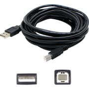 AddOn 15' USB 2.0 Type A to Type B Male/Male Data Transfer Cable, Black (USBEXTAB15)