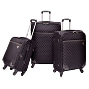 Beverly Hills Country Club Frankfort 3-PieceWoven Jacquard Spinner Luggage Set, Black