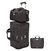 Traveler's Choice Rome 3-Piece Carry-On Luggage Set, Black