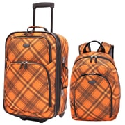 U.S. Traveler Orange Contrast Plaid 2-Piece Luggage Set