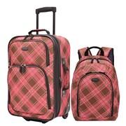 U.S. Traveler Pink Contrast Plaid 2-Piece Luggage Set