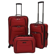 U.S. Traveler Delmont 3-Piece Expandable Luggage Set, Red