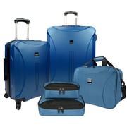 US Traveler Skyscraper 5-Piece Hardside Spinner Luggage Set, Steel Blue