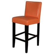 Monsoon Pacific Villa 26'' Bar Stool with Cushion (Set of 2); Orange With Brown Legs