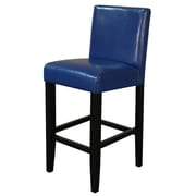 Monsoon Pacific Villa 26'' Bar Stool with Cushion (Set of 2); Blue With Black Legs