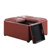 Simpli Home Avalon Coffee Table Storage Ottoman; Faux Leather/Radicchio Red