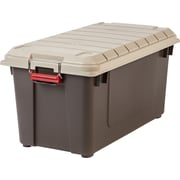 IRIS 21.8 Gallon Weathertight Heavy Duty Storage Tote (Set of 4); Brown/Beige