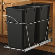 Rev-A-Shelf Double 6.7 Gallon Roll Out Waste Container; Black