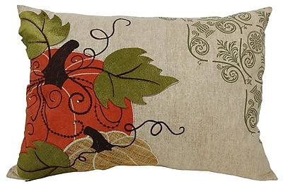 Xia Home Fashions Pumpkin Embroidered Suede Accents