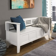 Simpli Home Adams Wood Storage Entryway Bench; White